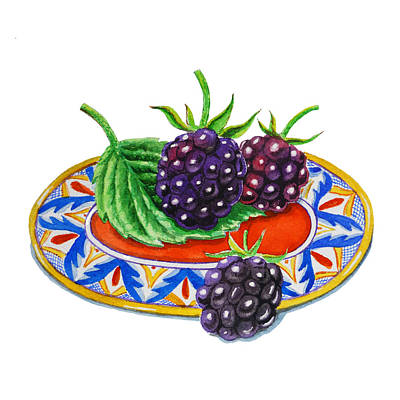 Italian Kitchen Painting - Blackberries by Irina Sztukowski