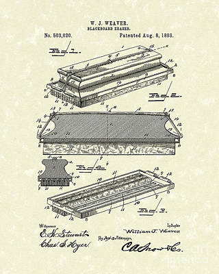 Photograph - Blackboard Eraser 1893 Patent Art by Prior Art Design