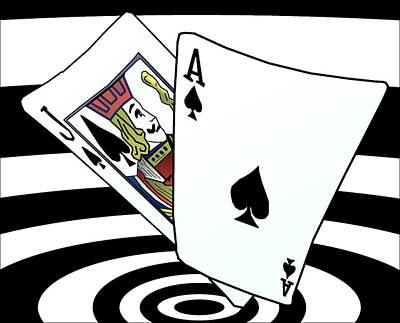 Drawing - Blackjack Strategy Vortex by Casino Artist