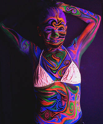 Swimsuit Mixed Media - Blacklight Bodypaint Swimsuit Body Paint On Girl by Hilary Leigh