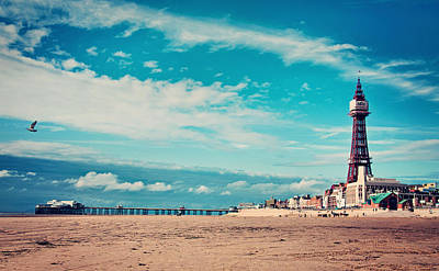 Blackpool Tower And Pier Art Print by Michelle McMahon