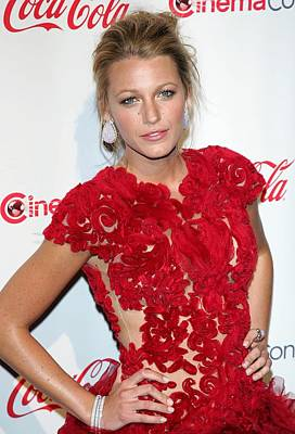 Bestofredcarpet Photograph - Blake Lively Wearing A Marchesa Dress by Everett