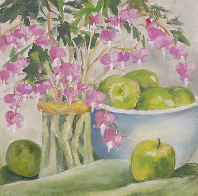Painting - Bleeding Hearts And Green Apples by Pat Olson