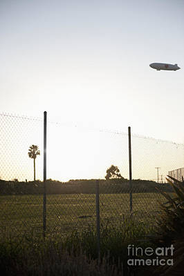 Blimp Flying Over Sports Field Print by Sam Bloomberg-rissman