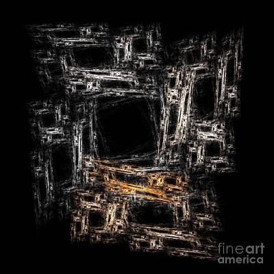 Block Abstract On Black                 Art Print by Richard Ortolano