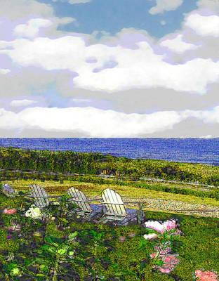 Block Island Sea Chairs Art Print