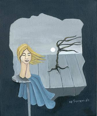 Surrealistic Painting - Blond In The Wind Surrealistic Landscape Windy Tree Woman Head In Blue And Yellow  by Rachel Hershkovitz