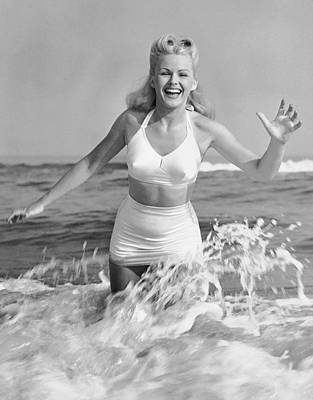 Blonde Woman In Two Piece Bathing Suit Art Print by George Marks