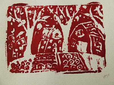 Art Print featuring the painting Blood Rituals In Red For The Mayan Forest Agriculture With Trees Houses And Land Plots by M Zimmerman