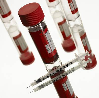 Testtubes Photograph - Blood Samples And Syringe by Mark Sykes