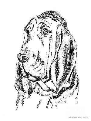 Drawing - Bloodhound-art-portrait by Gordon Punt