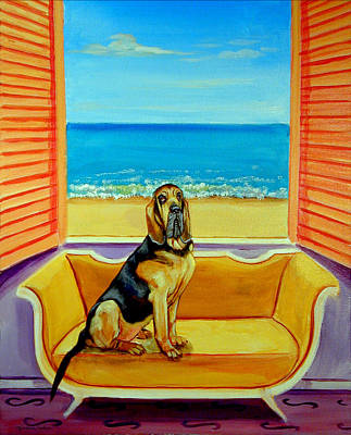 Bloodhound Painting - Bloodhound Dreams by Lyn Cook