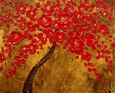 'blossom' Original Impasto Palette Knife Abstract Painting Cherry Tree Art Print by Aboli Salunkhe
