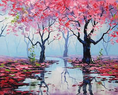 Pink Tree Wall Art - Painting - Blossom Trees Reflections by Graham Gercken