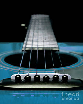 Guitar Photograph - Blue 2 Guitar 21 by Andee Design