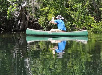Blue Amongst The Greens - Canoeing On The St. Marks Art Print by Marilyn Holkham