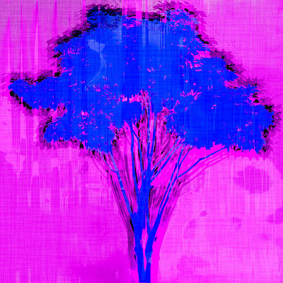 Royalty-Free and Rights-Managed Images - Blue and Pink Abstract Tree by David G Paul