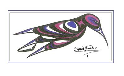 Blue And Purple Humming Bird Art Print by Speakthunder Berry