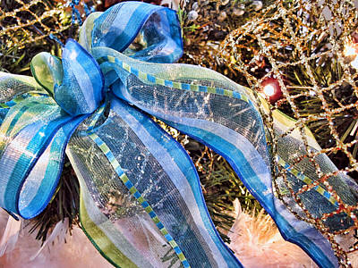 Blue And Silver Christmas Bow W Gold Mesh Garland - New Year Holiday W White Feathers And Lights Art Print by Chantal PhotoPix
