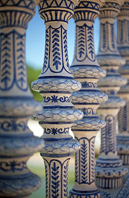 Blue And White Ceramic Fence Art Print by Kim Haddon Photography