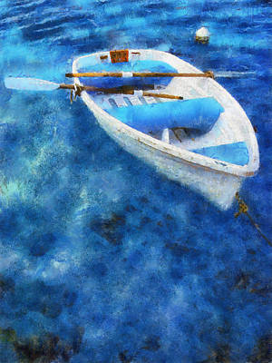 Blue And White. Lonely Boat. Impressionism Art Print by Jenny Rainbow