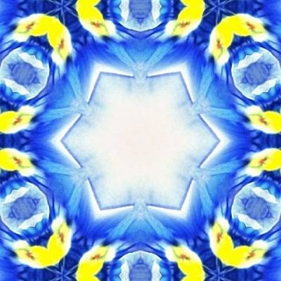 Fractal Wall Art - Photograph - #blue And #yellow #fractalart  #pattern by Pixie Copley