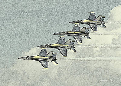 Photograph - Blue Angel Flyby by T Guy Spencer