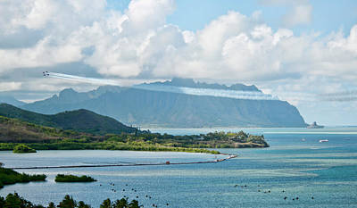 Photograph - Blue Angels Diamond Kualoa Flyby by Dan McManus