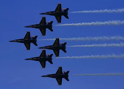 Photograph - Blue Angels In Formation by Christopher Kirby