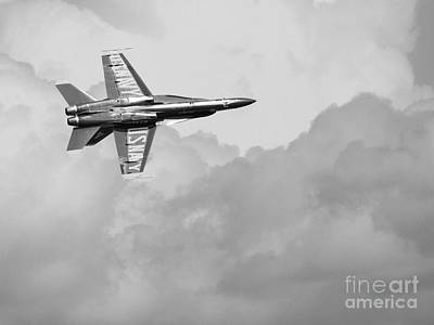 Blue Angels In The Cloud . Black And White Photograph Art Print by Wingsdomain Art and Photography