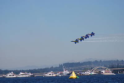 Photograph - Blue Angels Over Seafair by Michael Merry