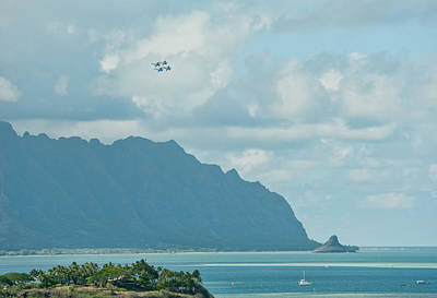 Photograph - Blue Angels Pass Chinaman's Hat by Dan McManus