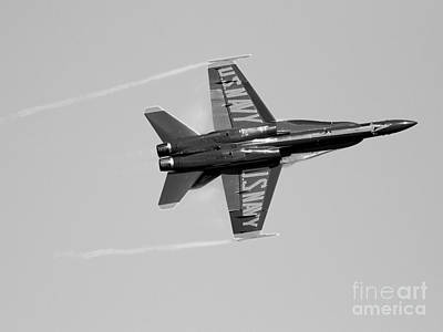 Blue Angels With Wing Vapor . Black And White Photo Print by Wingsdomain Art and Photography
