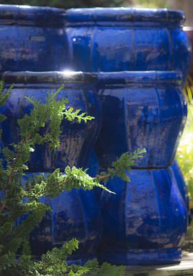 Ceramic Glazes Photograph - Blue Background by Teresa Mucha