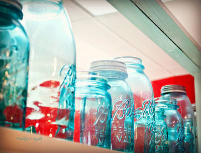 Photograph - Blue Ball Canning Jars by Paulette B Wright