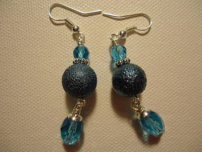 Blue Ball Sparkle Earrings Original by Jenna Green