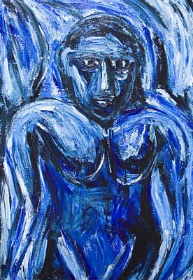 Primitive Raw Art Painting - Blue Barbarous Woman by Kazuya Akimoto