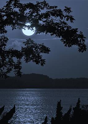 Photograph - Blue Bay - A Tropical Paradise, The Moon Glancing Thru The Leaves And Reflecting Off The Bay by William Bartholomew