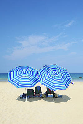 Reclining Chairs Photograph - Blue Beach Umbrellas by Kicka Witte
