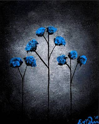 Oddball Art Painting - Blue Beauties by Oddball Art Co by Lizzy Love