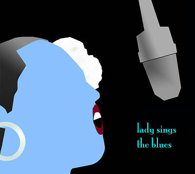 Digital Art - Blue Billie Holiday by Victor Bailey