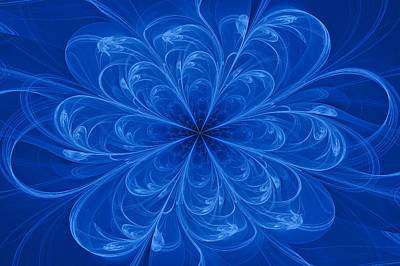 Colorful Abstract Digital Art - Blue Bloom by Sandy Keeton