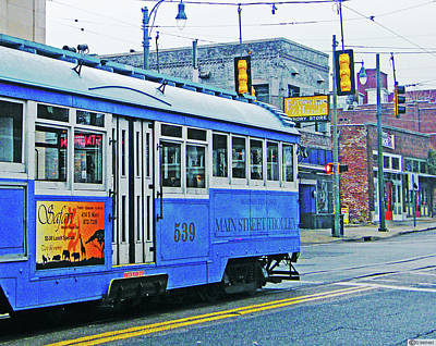 Digital Art - Blue Blue Trolley by Lizi Beard-Ward