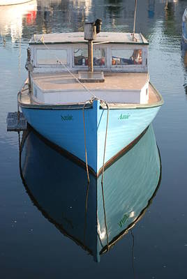 Photograph - Blue Boat Reflection by Richard Bryce and Family
