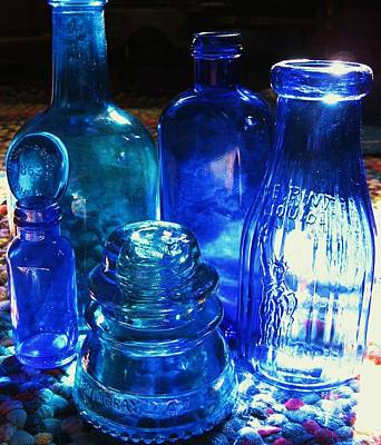 Photograph - Blue Bottles by John Scates