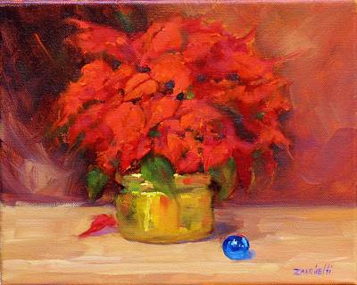 Poinsettias Painting - Blue Bulb by Laura Lee Zanghetti