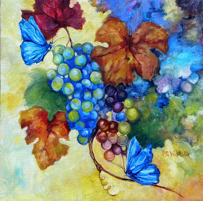 Blue Butterflies And Grapevine  Art Print by Peggy Wilson