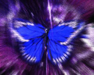 Digital Art - Blue Butterfly by Sherry Oliver