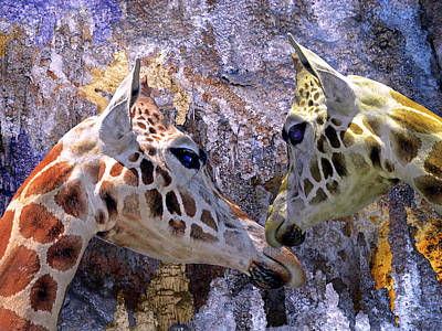 Photograph - Blue Cave Giraffes by Lynda Lehmann