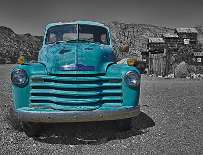 Turquoise And Rust Photograph - Blue Chevy Truck by Joan McDaniel